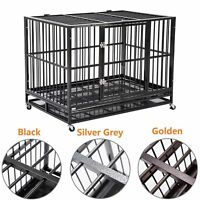 "3 Colors Large 37"" Dog Cage Crate Kennel Metal Pet Playpen House Portable w/Tray"