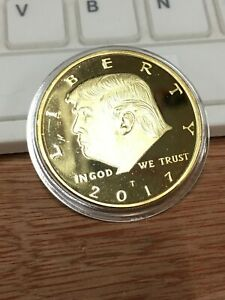 President Donald Trump 24k All Gold Plated EAGLE Commemorative Coin