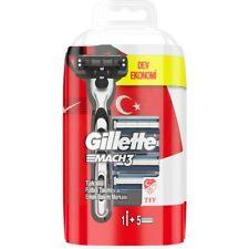 Gillette Mach3 Razor Handle + Gillette Mach3 Refill Blades, 5 Cartridges (RED)
