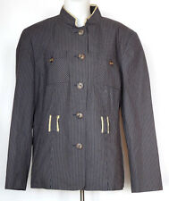 Apostrophe Dark & Light Gray Striped Cotton Long Sleeve Button Down Jacket 16W