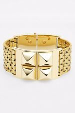 Michael Kors MKJ32879 Python Embossed  Pyramid Stud Leather Cuff Bracelet $165