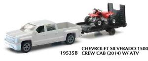 NEWRAY,Pick up CHEVROLET Silverado 1500 avec remorque et Quad rouge,NEW19815D