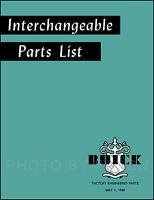 Buick Olds Parts Interchange Book 1934 1935 1936 1937 1938 1939 1940 1941 1942