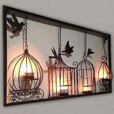 BIRDCAGE TEA LIGHT WALL ART METAL WALL HANGING CANDLE HOLDER BLACK 3D BIRD CAGE