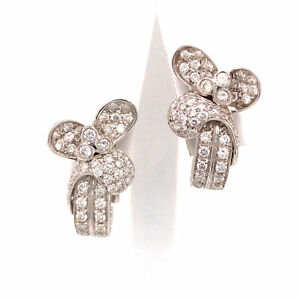 18K Diamond Flower Cluster Earring White Gold