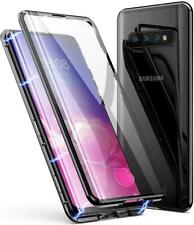 Samsung Galaxy S8 S10 Note 9 Magnetic Absorption Case Tempered Glass Metal Cover