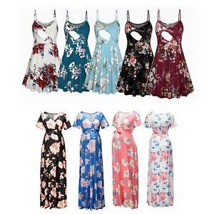 Maternity Maxi Dress Pregnant Women Photography Summer Floral Pattern Skirt