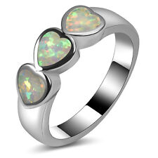 white Fire Opal Ring Silver Gold Filled Engagement Wedding Ring Size 11 A169