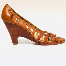 Michael Kors Heels Brown Wood Look Peep Toe Shoes Women's Size 7.5 M