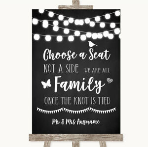 Wedding Sign Chalk Style Black & White Lights Choose A Seat We Are All Family