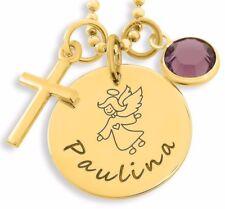 Geschenk Patenkind, Namenskette vergoldet, Geburtsstein und Kreuz Anhänger