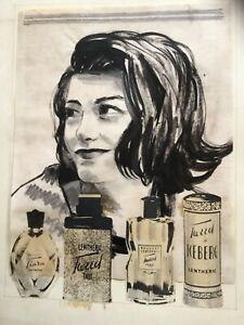 Vintage Advertising Collage & Ink for Lentheric Cosmetics, Studio Fran Sutton