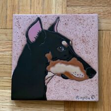 Doberman Dog or Manchester Terrier Tile by Pumpkin Inc. 6x6, hand painted