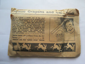 MYSTIC CRAYONS & TUBE TRICK ORIGINAL ENVELOPE ORIGINAL CONTENTS c1940s to 1950s