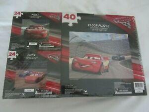 NEW Set of 3 Disney Pixar Cars Jigsaw Puzzles (1 floor) - Lightning McQueen NIB