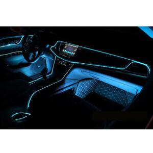Blue LED 2M Car Interior Decor Atmosphere Lamp Cold Light Strip Accessories
