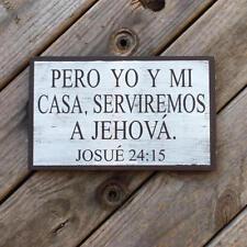 Spanish wood sign. Pero yo y mi casa, serviremos a Jehova. Hispanic home décor.