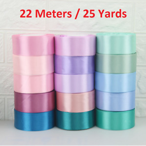 22M Color satin ribbons Wedding Party Decor gift wrapping embroidery 6-50mm bulk