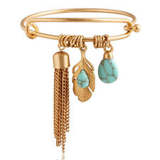 Turquoise Leaf & Tassel Charm Bangle Bracelet