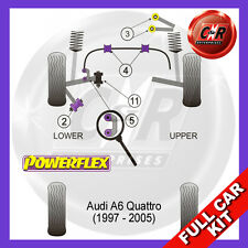 Audi A6 4WD C5 97-05 Powerflex Full Kit Front Upper Arm-Chassis Bushes Cambr Adj