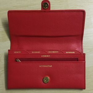 Pure Leather Red Ladies Travel Organiser Passport Currency Ticket Holder