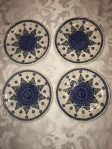 Boleslawiec Polish Pottery Set of 4 Salad / Bread Plates