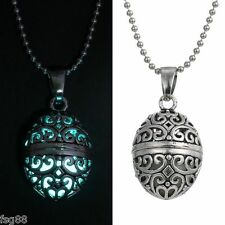Glow in the Dark Stainless Steel Chain Egg Oval Shape Locket Necklace Pendant