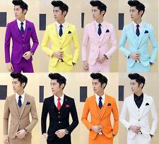 New Men's Premium Slim Fit Wedding Dinner Prom Jacket Waistcoat Pants Suit Set