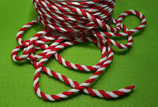 Red & White Twisted Candy Cane Satin Rope - Per mtr