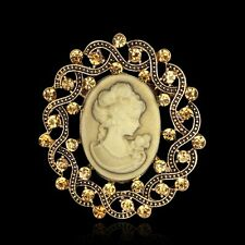 Vintage Gold Design Wedding Bridal Party Jewellery Cameo Brooch Pin Fashion Gift