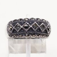 Sz 8.5, Vtg Sterling Silver Handmade Ring, 925 Silver Band marcasite inlay