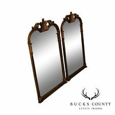 Regency Style Pair Black and Gold Wall Mirrors by Ambience