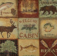 """20"""" DECORATIVE TAPESTRY PILLOW COVER Welcome to Our Cabin WILD NATURE CUSHION"""