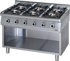 Cucina Professionale a Gas 6 Fuochi su Vano Aperto KW 36.5 Linea 70