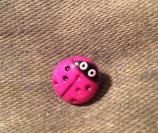 DILL BUTTONS #231202 LADYBUGS-PINK--SHANK--11MM---6 PIECES