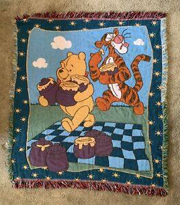 Vintage Winnie the Pooh Tigger Disney Beacon Throw Blanket Fringed Tapestry