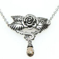 Rose Necklace Blooming Flower w. Cubic Zirconia & Smoke Quartz Jewelry Controse