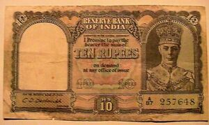 1943 (nd) British India 10 Rupees Ch Fine+ Crispy Banknote Currency Paper Money