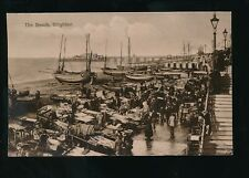 Sussex BRIGHTON busy Beach fish market scene used 1913 PPC