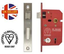 British Standard Sash Locks Dead Locks BS3621 Mortice Stainless Steel 63mm 75mm