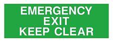 1x Emergency Exit Keep Clear Sticker
