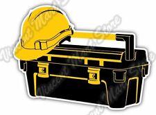 "Tool Box Construction Builder Hard Hat Car Bumper Vinyl Sticker Decal 5""X4"""