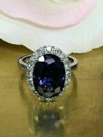 4Ct Oval Cut Blue Sapphire & Diamond Halo Engagement Ring 14K White Gold Finish