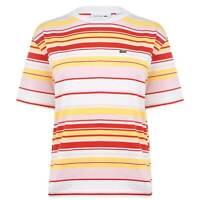 Womens Lacoste Multi Stripe T Shirt Crew Neck Short Sleeve New