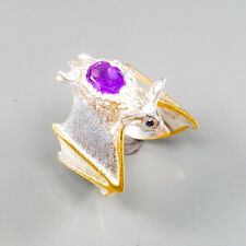 Vintage Natural Amethyst 925 Sterling Silver Ring Size 7/R122940