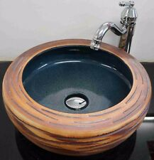 Stone Effect Bathroom Cloakroom Ceramic Counter Top Wash Basin Sink Washing Bowl