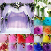 Table Chair Organza Sheer Silk Fabric For Wedding Party Banquet Backdrop Decor Y