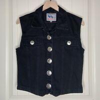 Vintage M Womens Black Denim Jean Vest Southwest Silver Buttons Boho Cowgirl