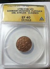 1782 FHB GERMANY 1 PFENNIG ROSTOCK FLIPOVER DOUBLE STRIKE ULTRA RARE