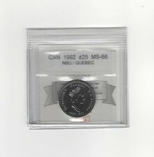 **1992 Quebec** Coin Mart Graded Canadian, 25 Cent, **MS-66 NBU**